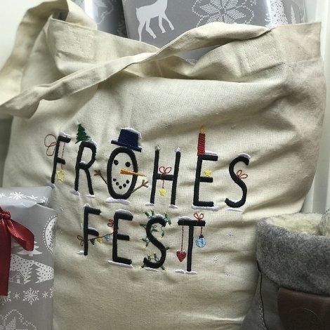 Stickdatei Frohes Fest Schriftzug Kunterbunt