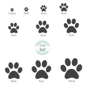 Stickdatei Pfote 10 Größen Hundepfote Katzenpfote