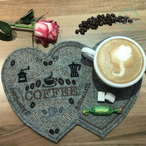 ITH Stickdatei MugRug Kaffee Herz Coffee Espresso...