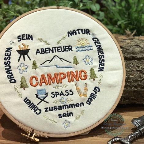 Stickdatei Camping Camper Herz