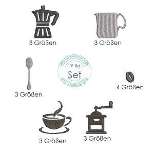 Stickdatei Kaffee Symbole 19 Dateien Set