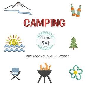 Stickdatei Camping Symbole / Icons 24 Dateien Set