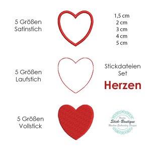 Stickdateien Set Herzen in 5 Größen und 3...