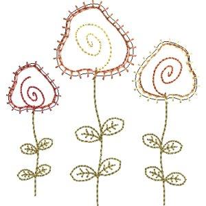 Stickdatei 3er Blumen Applikation 10x10
