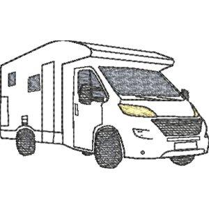 Stickdatei Wohnmobil Doodle / Strichzeichnung 10x10