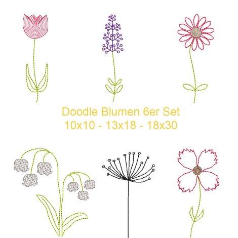 Stickdatei 6er Set Doodle Strichzeichnung Blumen