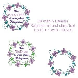 Blumen & Ranken Rahmen Set Clematis...