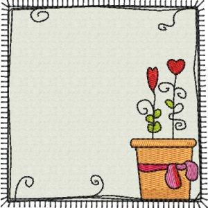 Applikation Rahmen mit Blumentopf Doodle