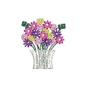 3er Set Stickdatei Mini Blumenstrauß 10x10