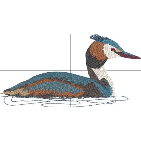 Stickdatei Haubentaucher Ente Vogel Vollstick 13x20