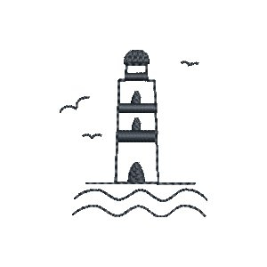 Stickdatei Maritime Symbole Mini 5er Set Leuchtturm, Anker, Segelboot, Steuerrad, Windrose
